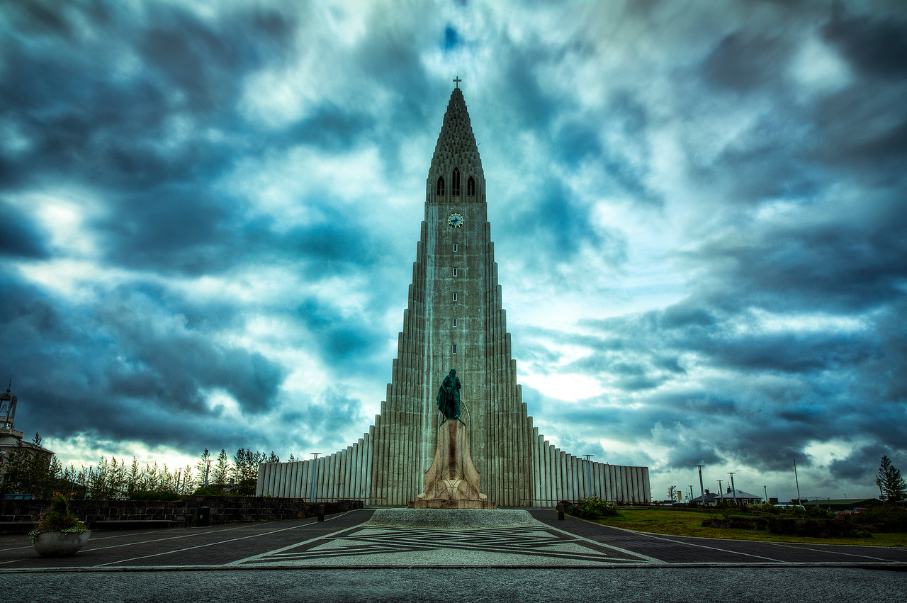 Hallgrimskirkja on a Wild Morning