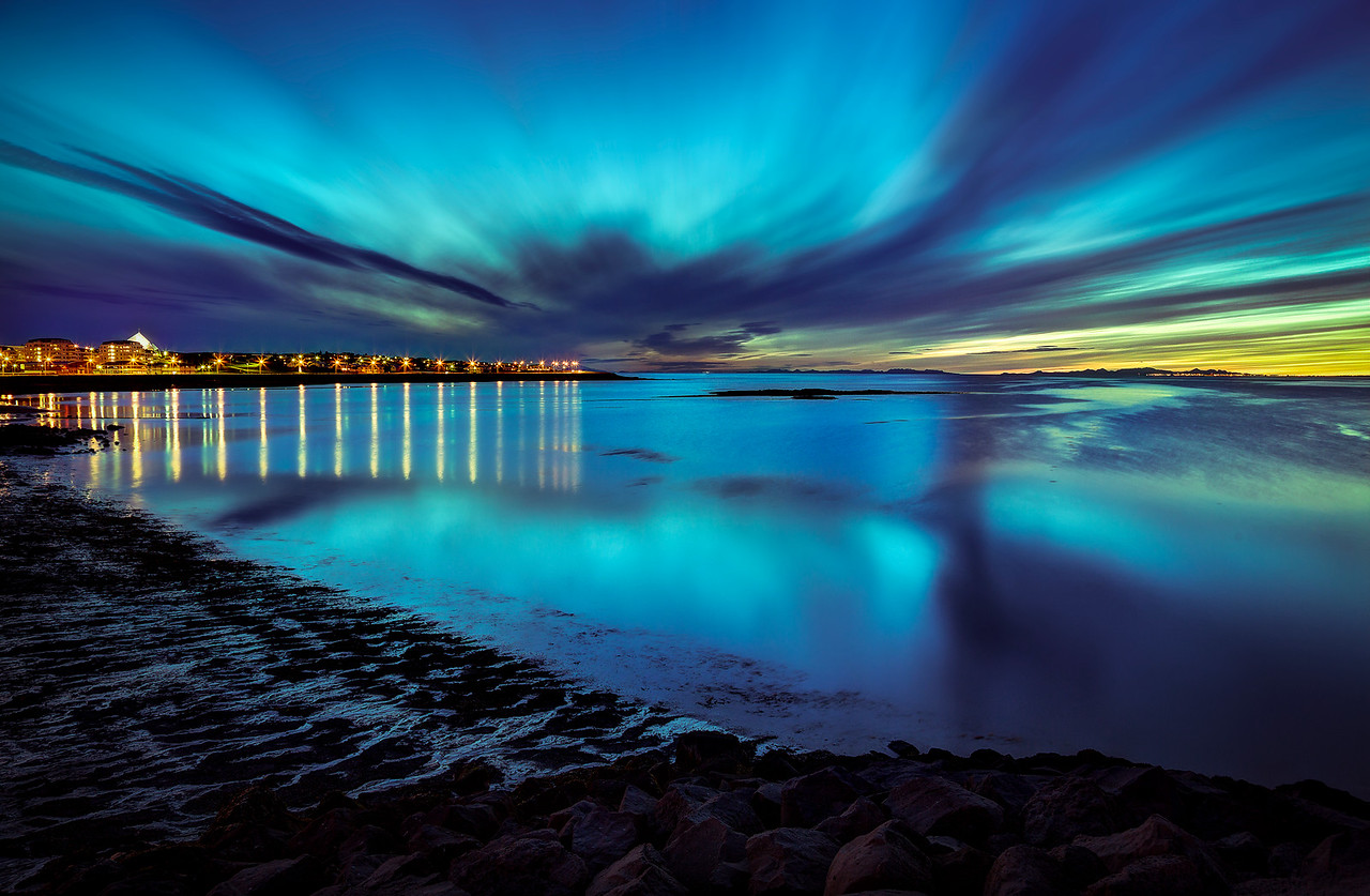 Reykjavik Seashore at Night